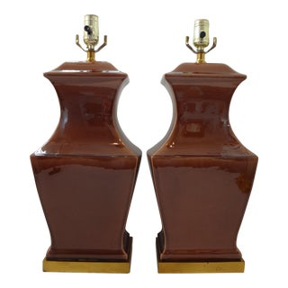 Vintage Paul Hanson Drip Glaze Ceramic Table Lamps - a Pair