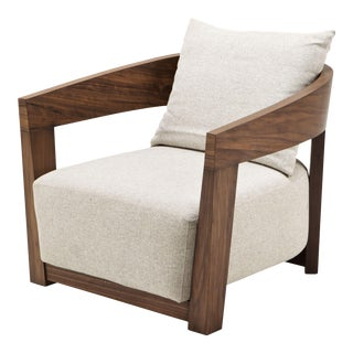Walnut Pillow Back Armchair | Eichholtz Rubautelli For Sale