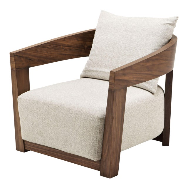 Walnut Pillow Back Armchair | Eichholtz Rubautelli For Sale