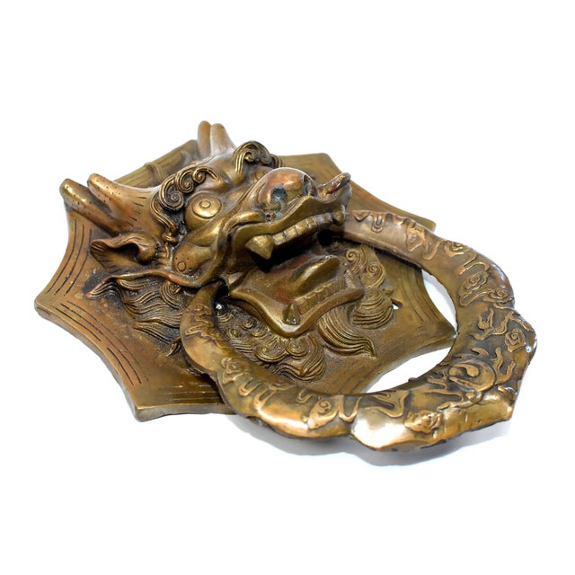 Late 20th Century Vintage Medium Asian Dragon Door Knockers- a Pair For Sale - Image 5 of 13