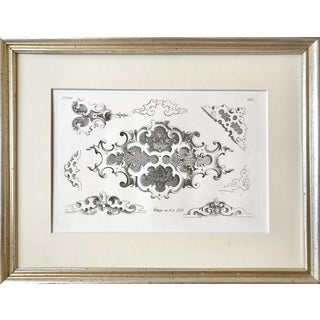 Antique 19th Century Vintage French Engraving Architectural Detail Print Dated 1844 For Sale