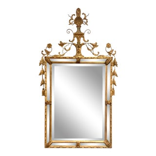Carved Gold Giltwood Mirror With Shell Motif Crest Giltwood For Sale