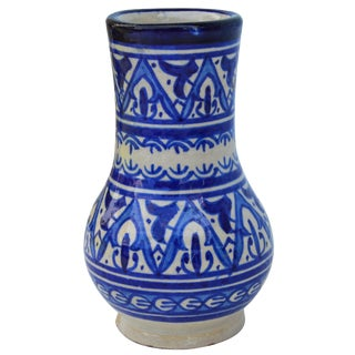 Blue Moorish Ceramic Vase For Sale