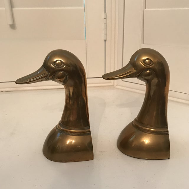 Brass 1960s Danish Modern Brass Duck Bookends - a Pair For Sale - Image 7 of 8