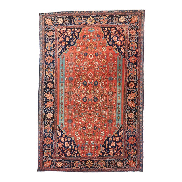 Late 19th Century Red Ground Farahan Sarouk Rug - 4′4″ × 6′6″ For Sale