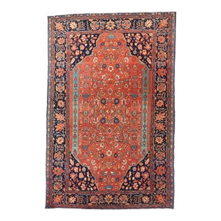 Red Ground Farahan Sarouk Rug For Sale