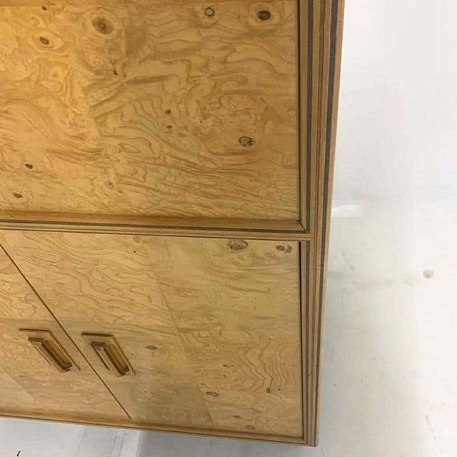 Mid 20th Century Henredon Olive Burl Burled Wood and Macassar Dresser Cabinet Shelving Wardrobe For Sale - Image 5 of 9