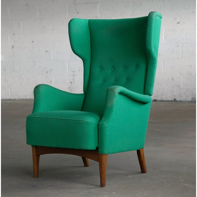 Mid-Century Modern Fritz Hansen 1950s Danish Wingback Chair Model 8023 With Ottoman For Sale - Image 3 of 12