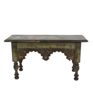 Green Painted Stool With Carved Apron and Turned Legs, French, Circa 1800. For Sale