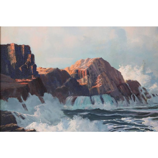 "1960s Oil on Canvas, ""Shore Line at High Tide"" Large Scale Painting by Robert P. Wheeler For Sale - Image 5 of 11"