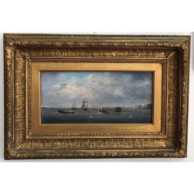 Blue Late 19th Century Oil Seascape Paintings - a Pair For Sale - Image 8 of 9