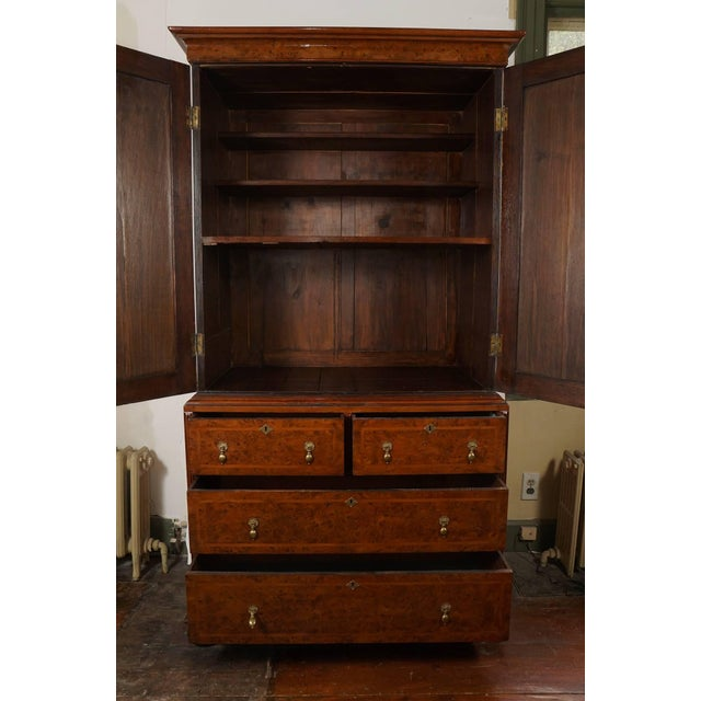Traditional William & Mary Style Burled Yew Linen Press Cabinet For Sale - Image 3 of 8