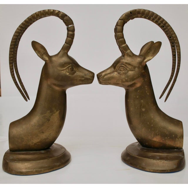 Large Brass Gazelle Sculptural Bookends - Image 3 of 8