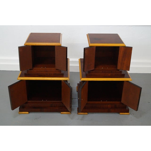 Frank lloyd wright style pedestal cabinets pair chairish for Wright style