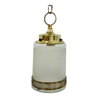 Vintage Etched Glass & Brass Hanging Pendant Light For Sale