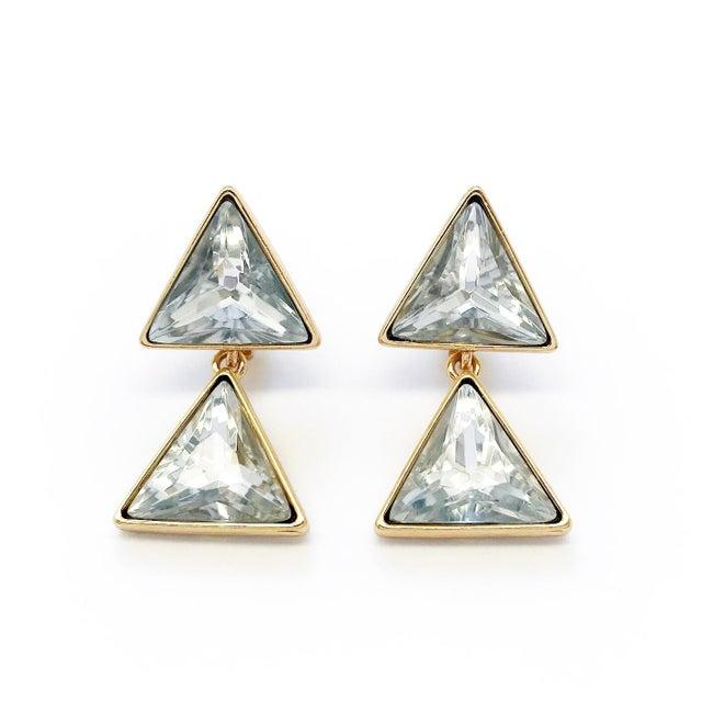 Triangle dangling earrings by KENNETH JAY LANE. A geometric modern statement in mint vintage condition with original card....