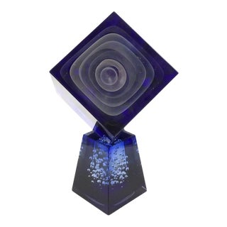 1980s Stefano Toso Murano Monumental Art Glass Geometric Sculpture in Blue For Sale