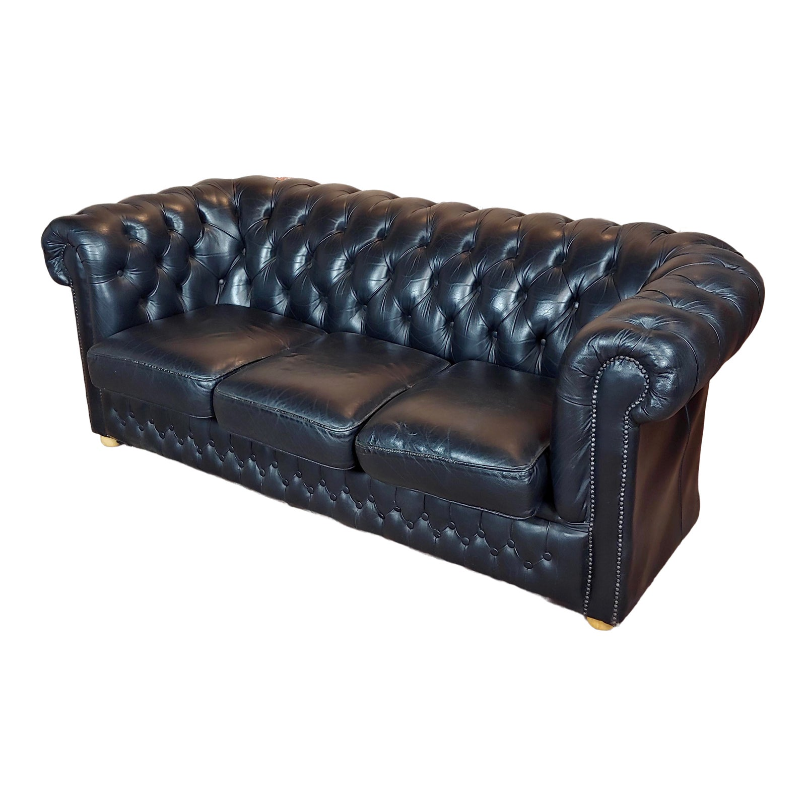 1960s Vintage Chesterfield Black Leather Sofa