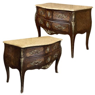 Commodes, 19th Century French Marble Top Marquetry Bombe - a Pair For Sale