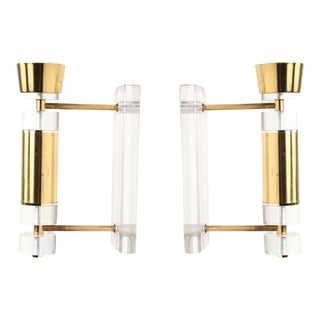 1970s Vintage Brass and Lucite Wall Sconces - A Pair For Sale