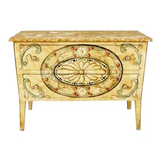 19th Century French Country Two Drawer Dresser With Floral Decoration For Sale