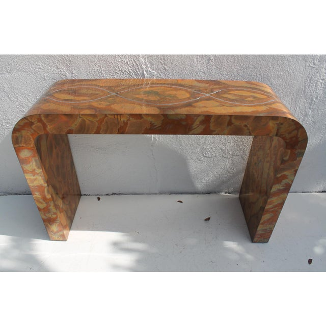 Brutalist Paul Evans Style Waterfall Copper Console Table For Sale - Image 3 of 11
