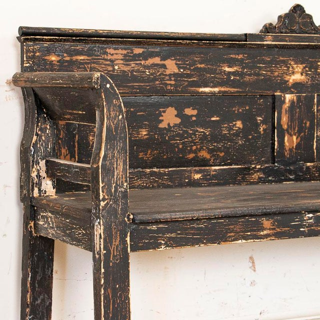 Antique Simple Black Painted Pine Bench From Hungary For Sale - Image 6 of 9