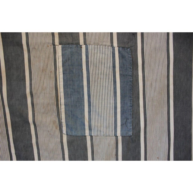 French Antique French Primitive Indigo Blue Rustic Stripes Ticking Denim Fabric - 4.3 Yds For Sale - Image 3 of 4