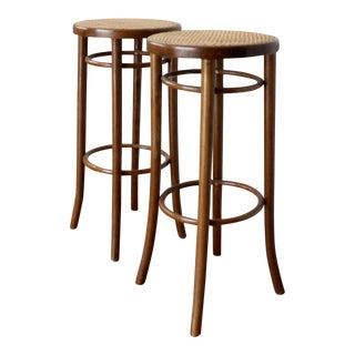 Mid Century Modern Boho Rattan Bar Stools- a Pair For Sale