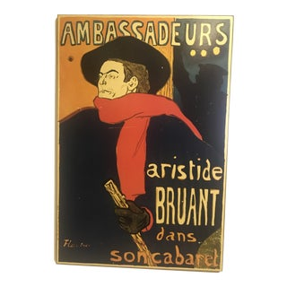 1960s Vintage Aristide Bruant Wood Poster For Sale