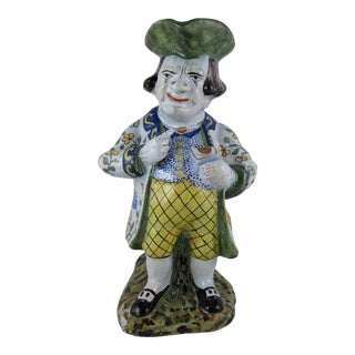 French Desvres Faience Large Figural Tavern Jug, The Snuff Taker