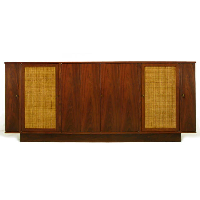 Mid-Century Modern Dunbar Walnut and Cane Credenza by Edward Wormley For Sale - Image 3 of 10