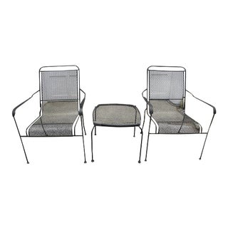 1970s Mid Century Modern Black Iron Patio Set - 3 Pieces