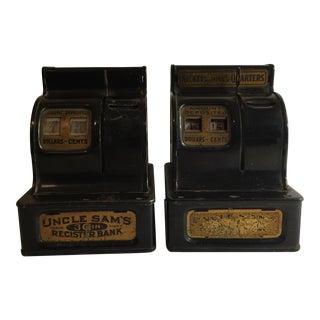 Antique Cash Register Bank Bookends - A Pair