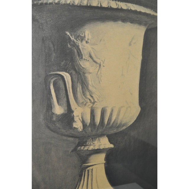 """Neoclassical John Reid Mid 19th Century """"Classic Urn"""" Charcoal Drawing For Sale - Image 3 of 7"""