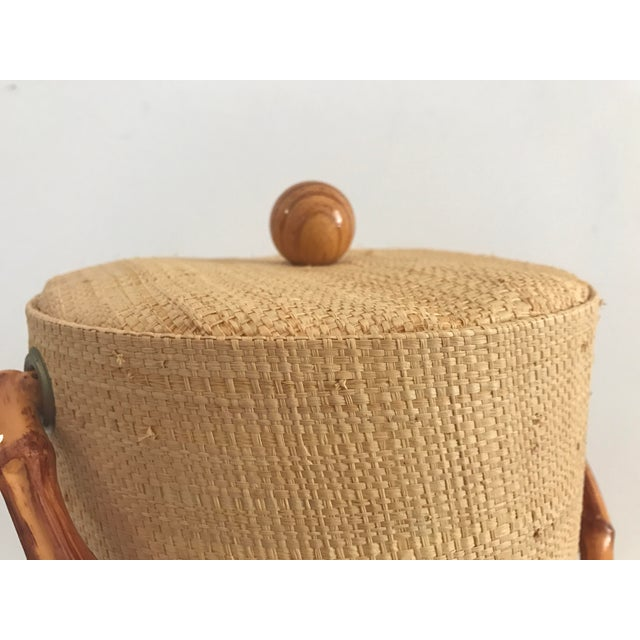 Vintage Grasscloth Ice Bucket With Faux Bamboo Tongs - A Pair - Image 4 of 7