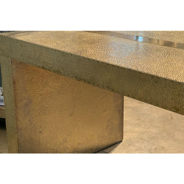 Stephanie Odegard Handmade Hammered White Bronze Bench For Sale In Tulsa - Image 6 of 8