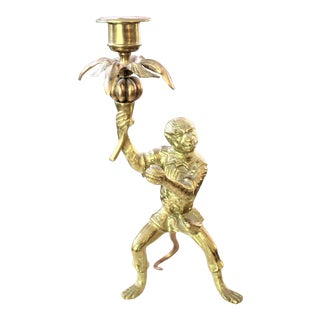 French Louis XVI Style Bronze Dore Monkey Candlestick Holder For Sale