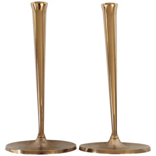 Pair of Gusums Bruk Brass Candlesticks For Sale
