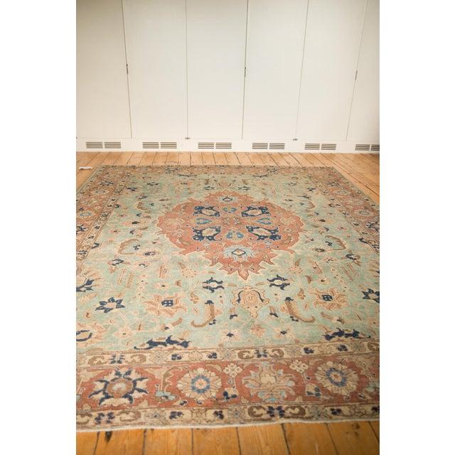 """Light Green Vintage Distressed Tabriz Carpet - 8'5"""" X 10'7"""" For Sale - Image 8 of 12"""