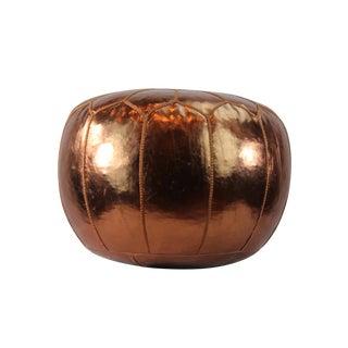 Stuffed Copper Metallic Vegan Leather Pouf For Sale