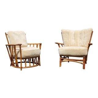 A Pair of Mid-Century Modern Bamboo Lounge Chairs For Sale