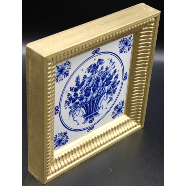 Wood Mid-20th Century Dutch Delft Floral Gilt Wood Framed Tiles - a Pair For Sale - Image 7 of 13