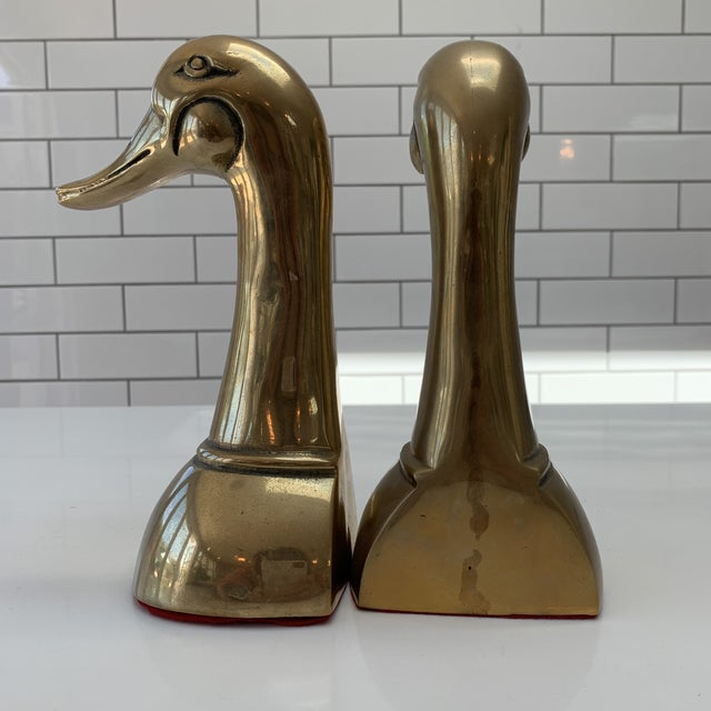 Vintage Mid Century Modern Oversized Brass Mallard Duck Bookends - a Pair For Sale - Image 4 of 8