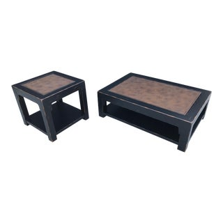 Traditional Thomasville Black Coffee Table & Lamp/End Table - 2 Pieces For Sale