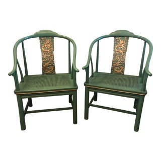 1980s Vintage Ming Style Gilded Dragon Horseshoe Chairs- A Pair For Sale