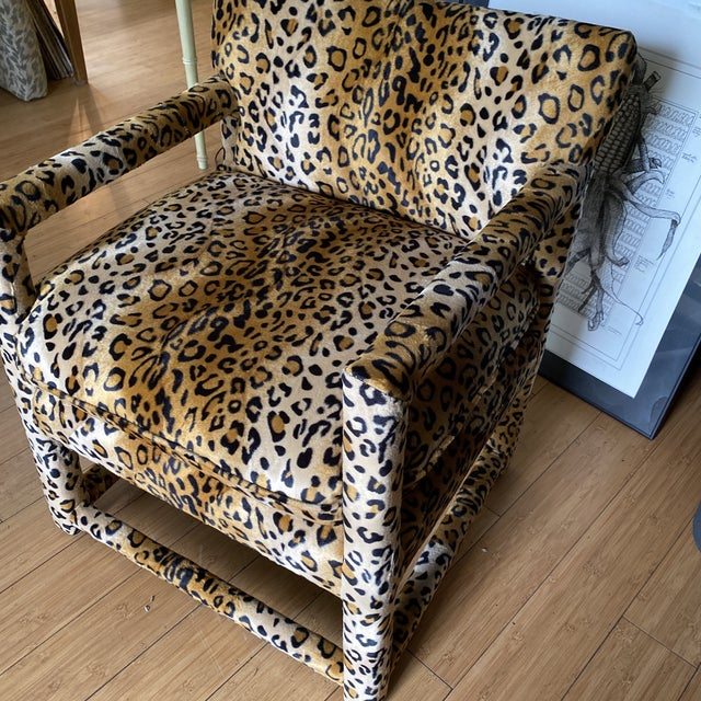 Velvet Cheetah Newly Upholstered Parsons Chairs - a Pair For Sale - Image 4 of 11