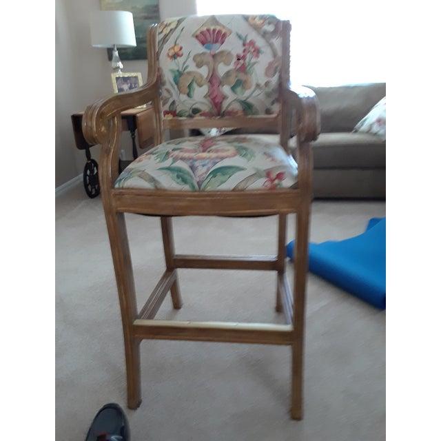 Enjoyable Wood Fabric Bar Counter Chairs A Pair Cjindustries Chair Design For Home Cjindustriesco