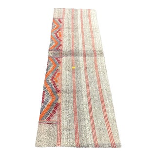 Antique Turkish Embroidered Organic Runner Kilim Rug - 2′ × 7′5″ For Sale