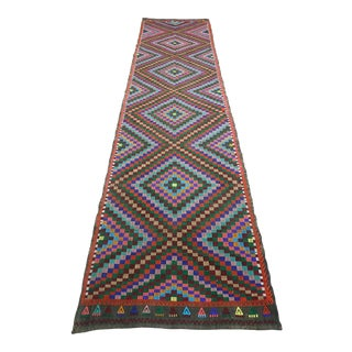 Turkish Cal Nomad's Embroidered Kilim Rug Runner For Sale